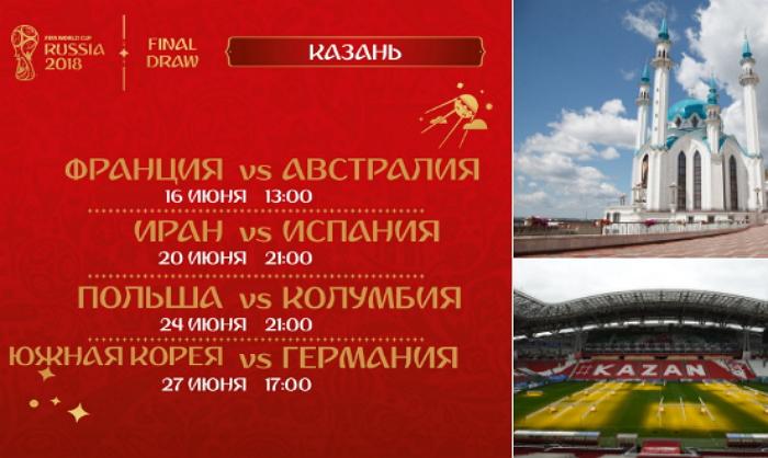 Расписание групповых матчей ЧМ 2018 в Казани