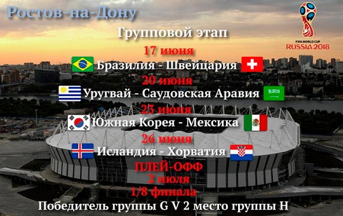 Расписание матчей на Ростов Арена