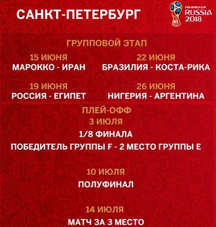 Расписание матчей ЧМ 2018 в Питере