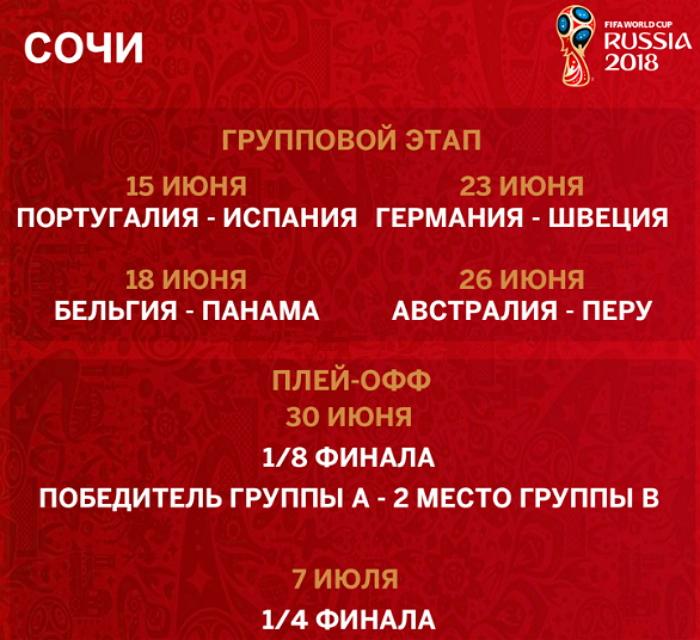 Расписание матчей ЧМ 2018 в Сочи